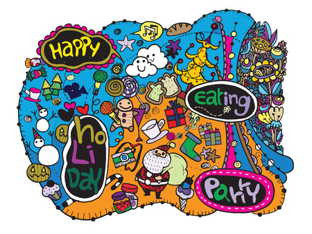 teammate: Hand drawn Hipster Doodle Party, Vector Illustration Set