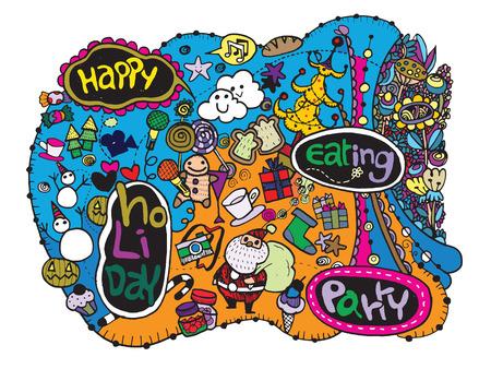 Hand getrokken Partij Hipster Doodle, Vector Illustratie Set