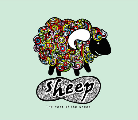 Hipster Doodle Funny sheep,Hand drawing style.Vector illustration.