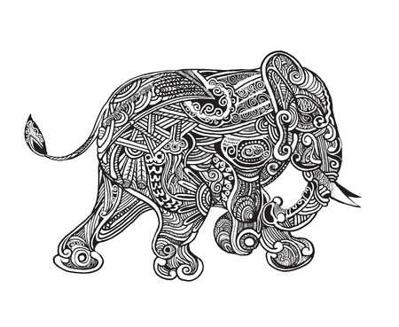 hand drawn isolated ethnic elephants,drawing style.Vector illustration. Vector