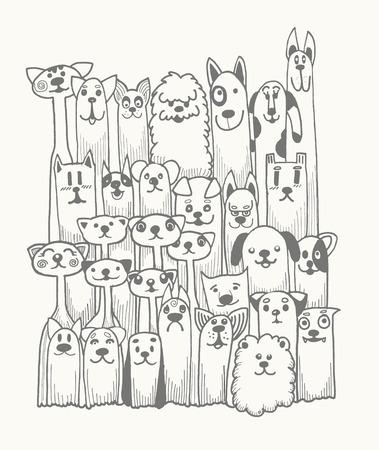 gato caricatura: garabato dibujado a mano Funny Dogs Set, ilustraci�n vectorial.