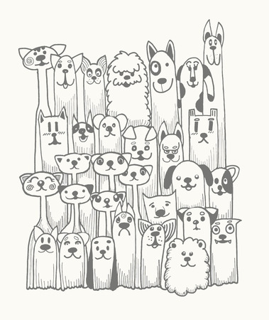 smiling cat: hand drawn doodle Funny Dogs Set, Vector illustration.