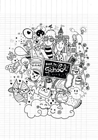 children art: Hipster hand drawn Back to school doodle set,drawing style.Vector illustration.