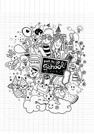 Mano Hipster disegnato Torna set scarabocchio scuola, disegno style.Vector illustrazione. Archivio Fotografico - 38469221