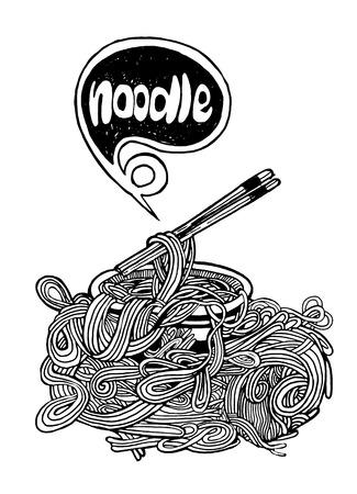 Hipster Noodle doodles Background,drawing style.Vector illustration. Ilustracja