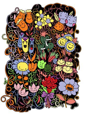 Hipster Hand Drawn Doodle Sketch Flowers BackgroundVector Illustration Vector
