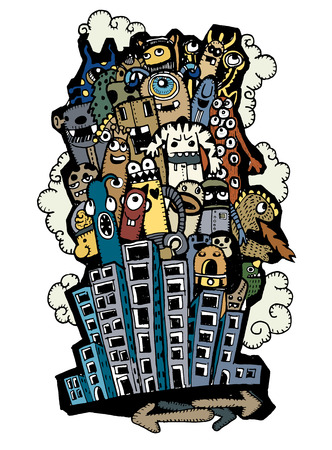 indie: Crazy doodle City,doodle drawing style.Vector illustration.