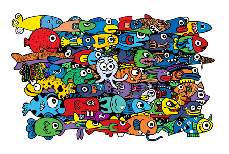 crazy cute: Crazy doodle Cute marine life,doodle drawing style.Vector illustration.