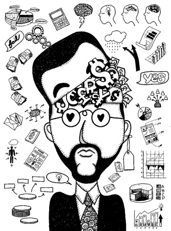 dea: Hipster Businessman doodles thinking of business concept,hand drawn style.Vector illustration.