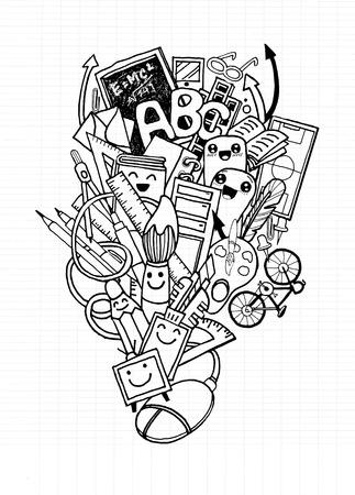 Hipster hand drawn Back to school doodle set,Notebook Doodle Design Elements on Lined Sketchbook Paper Illustration  イラスト・ベクター素材