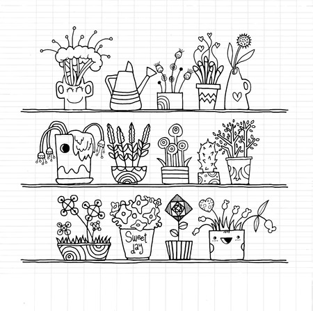 weeder: Hipster hand drawn Flowers In Pots, doodle set,drawing style Pen on Paper Notebook .Vector illustration.