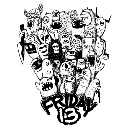 13th: Hipster hand drawn Friday 13 grunge illustration ,drawing style.Vector illustration.