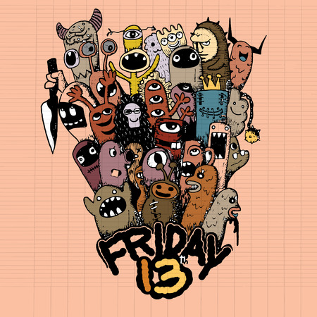 friday 13: Hipster hand drawn Friday 13 grunge illustration ,drawing style Pen on Paper Notebook .Vector illustration. Illustration
