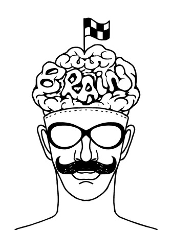 sucess: Hipeter head with crossed checkered flags on Brain ,Sucess concept,hand drawn style.Vector illustration. Illustration