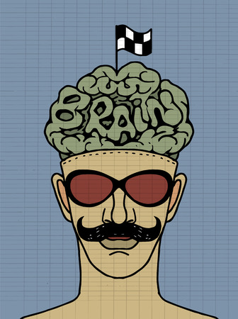 crossed checkered flags: Hipeter head with crossed checkered flags on Brain  Illustration