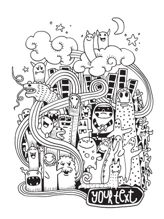 monster tattoo: Hipster Hand drawn Crazy doodle Monster City,drawing style.