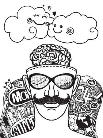 Hipster Businessman relaxing after hard work,hand drawn style.Vector illustration.