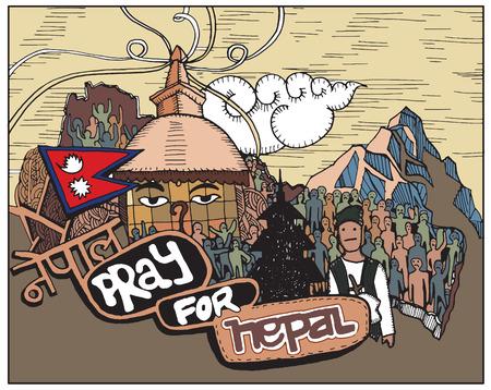 stupa: Pray for Nepal ,Kathesimbu Stupa with Buddha wisdom eyes and prayer colorful flags in Kathmandu Illustration