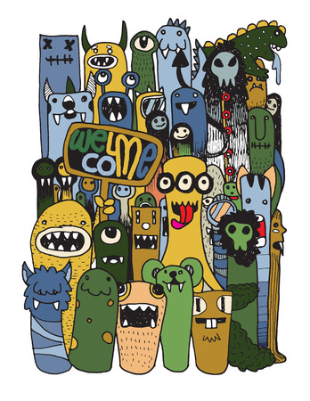 HipsterHand drawn Crazy doodle Monster City,drawing style.Vector illustration. Ilustracja