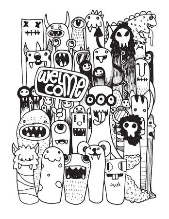 HipsterHand dibujado monstruo loco doodle de la ciudad, dibujo ilustración style.Vector. Ilustración de vector