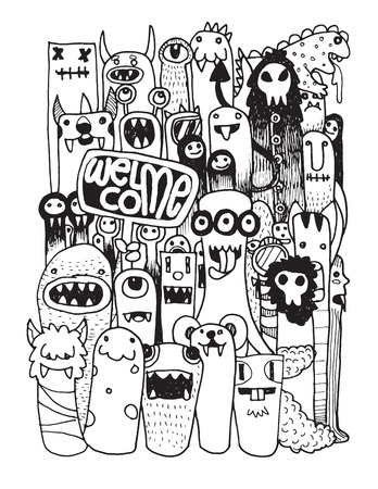 HipsterHand drawn Crazy doodle Monster City,drawing style.Vector illustration. Иллюстрация