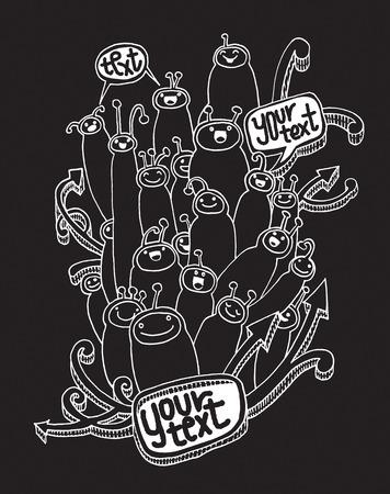 Hand drawn doodle Cartoon cute monsters Set, Vector illustration.