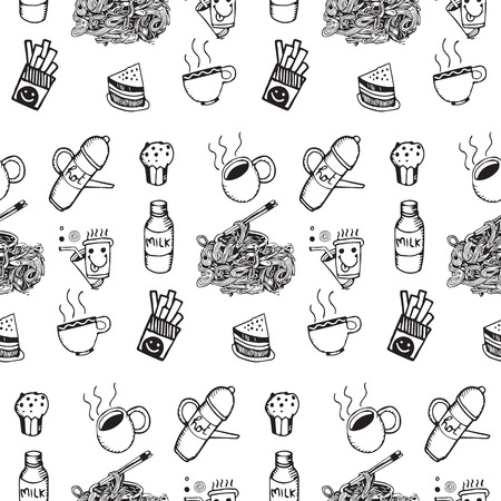 Hipster Seamless vector pattern. Kitchen,food background,drawing style.Vector illustration. Vector
