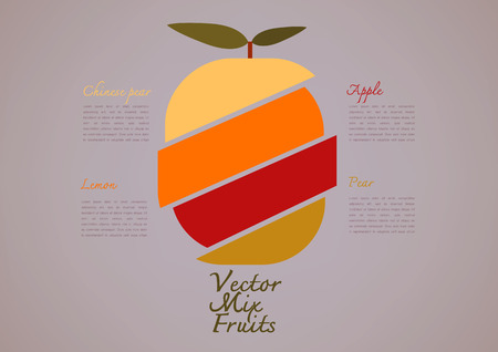 variety: Image of sliced of variety of fruits stacked in one,Vector illustration