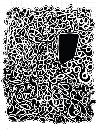 disorderly: Hipster Hand drawn Vector pattern. Abstract background with linear doodles. Repeating texturedrawing style Pen on Paper Notebook.Vector illustration.
