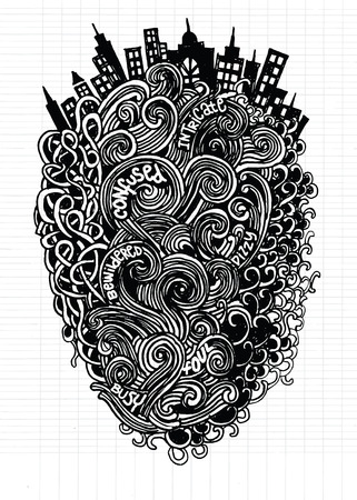 Hipster Hand drawn Vector pattern. Abstract background with linear doodles.drawing style Pen on Paper Notebook.Vector illustration.