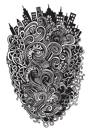 bewildered: Hipster Hand drawn Vector pattern. Abstract background with linear doodles.Vector illustration.