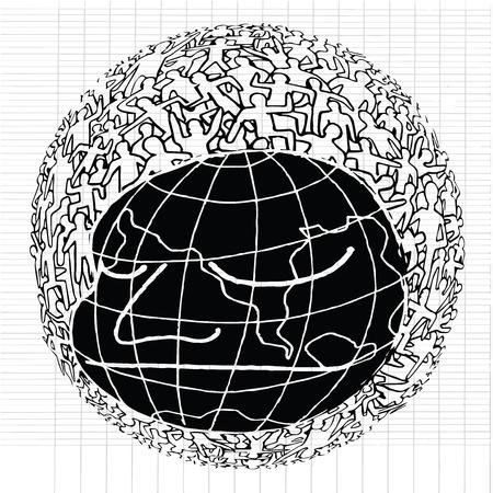 millones: Dibujado a mano Poblaci�n de Nuestro Mundo, ilustraci�n vectorial