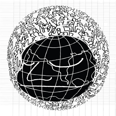 populace: Hand drawn Population of Our World ,Vector illustration Illustration