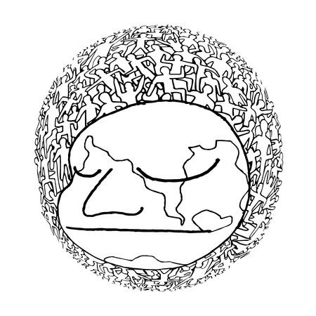 millions: Hand drawn Population of Our World ,Vector illustration Illustration