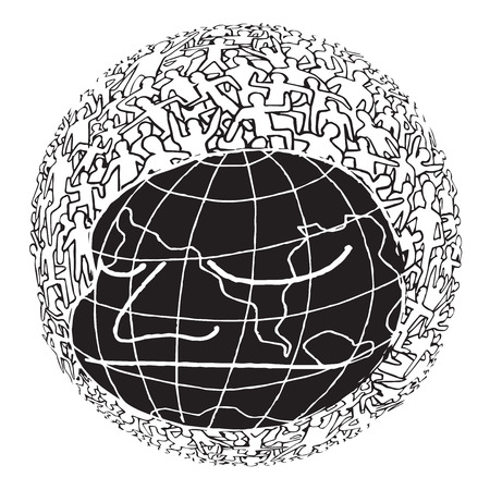 Hand drawn Population of Our World ,Vector illustration Ilustrace