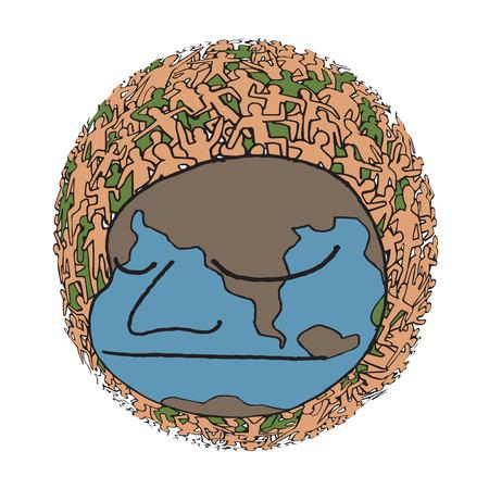 millones: Dibujado a mano Poblaci�n de Nuestro Mundo en color, ilustraci�n vectorial