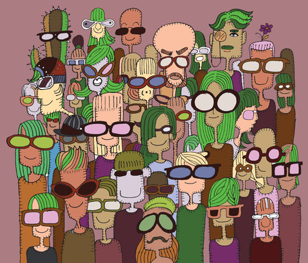 crowd happy people: Hipster hand drawn Doodle crowd of happy people in sunglasses.Vector illustration.