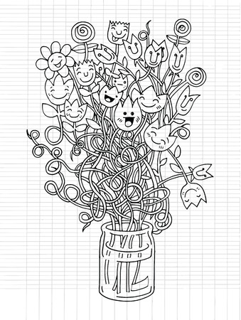 small group of objects: Hipster hand drawn Flowers In Vase, doodle set,drawing style Pen on Paper Notebook .Vector illustration.