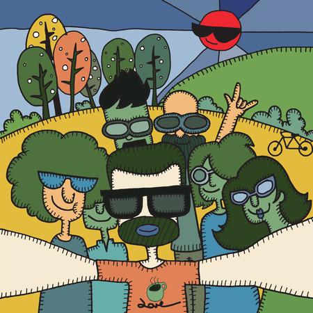 Selfie tieners. Hipster nemen van foto's in het groene veld, vector illustratie. Stock Illustratie