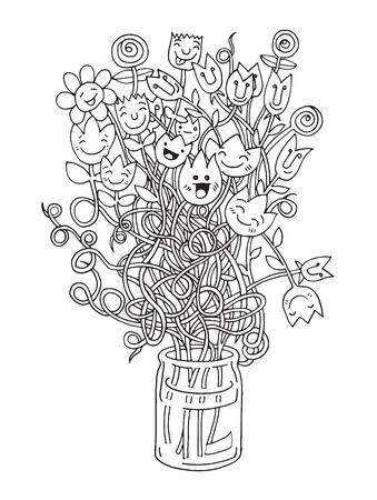 weeder: Hipster hand drawn Flowers In Vase, doodle set,drawing style .Vector illustration. Illustration