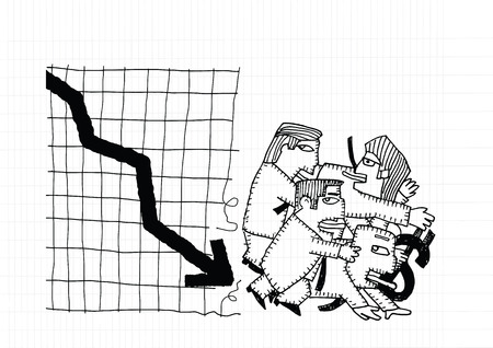 shocking: Cartoon businessman group shocking down arrow and downturn economic crisis representing with falling graph.Vector illustration.