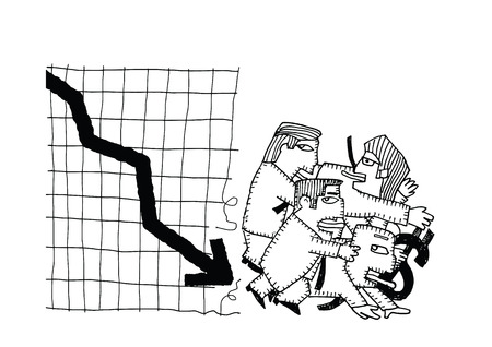 crack up: Cartoon businessman group shocking down arrow and downturn economic crisis representing with falling graph.Vector illustration.