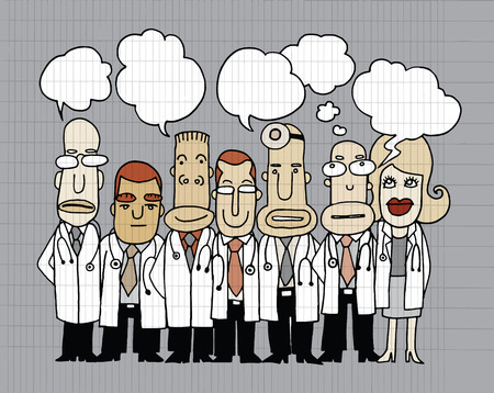 Team of  Doctors stand and talk in speech bubbles ,Idea word cloud bulb,Vector illustration. Hand drawn style Vector