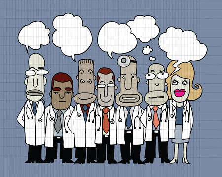 bubble people: Team of  Doctors stand and talk in speech bubbles ,Idea word cloud bulb,Vector illustration. Hand drawn style