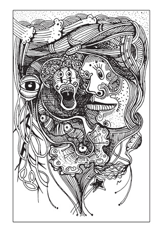 decaying: Abstract faces ghosts  Hand drawn style.Vector illustration.