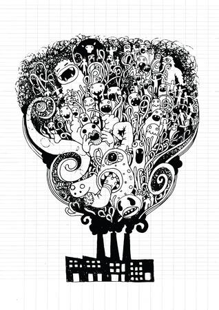 teammate: Vector illustration of Monsters Population of Our World (vector eps10), Notebook Doodle Design Elements on Lined Sketchbook Paper Illustration Stock Photo