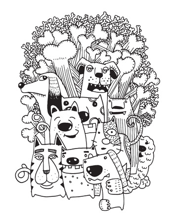 funny dogs: hand drawn doodle Funny Dogs Set, Vector illustration.
