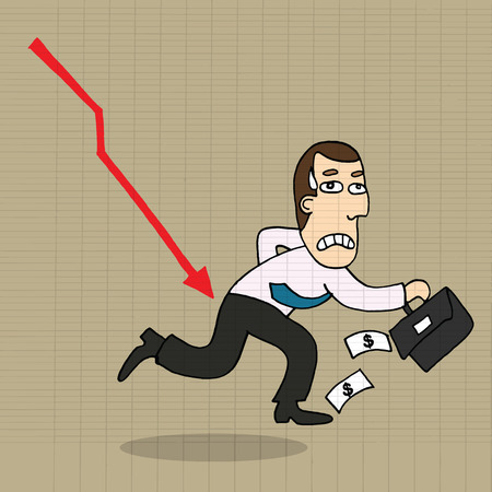 shocking: Cartoon businessman shocking down arrow and downturn economic crisis representing with falling graph. Illustration