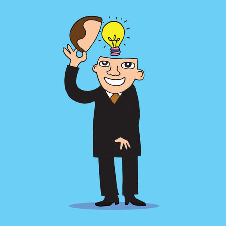 invent clever: Illustration of idea bulb in stylized business man head. Illustration