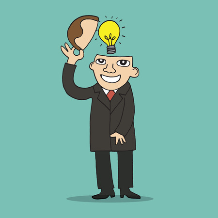 turns: Illustration of idea bulb in stylized business man head. Illustration